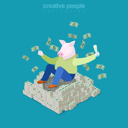rich people: Isometric business Rich pig concept. Fat man with piggy head on heap of dollar money. Flat 3d isometry web site conceptual vector illustration. Creative people collection.