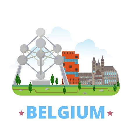 벨기에 국가 디자인 템플릿. 플랫 만화 스타일 웹 사이트 벡터 일러스트 레이 션. 세계 여행 여행 유럽 유럽 컬렉션입니다. Atomium, Tournai Cathedral, 박물관