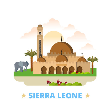web site design template: Sierra Leone country design template. Flat cartoon style historic sight showplace web site vector illustration. World vacation travel sightseeing Africa African collection. Freetown Central Mosque.