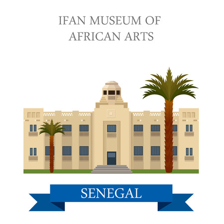 dakar: IFAN Museum of African Arts in Dakar in Senegal. Flat cartoon style historic sight showplace attraction web site vector illustration. World countries cities vacation sightseeing Africa collection. Illustration