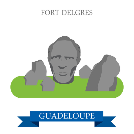 historic: Fort Delgres in Guadeloupe. Flat cartoon style historic sight showplace attraction web site vector illustration. World countries cities vacation travel sightseeing America collection.