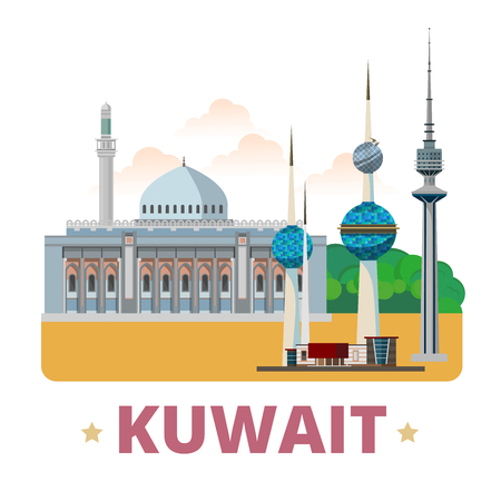 points of interest: Kuwait country design template. Flat cartoon style historic showplace web site vector illustration. World vacation travel sightseeing Asia Asian collection. Grand Mosque Liberation Tower Kuwait Towers