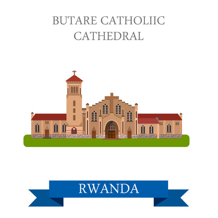 sightseeings: Butare Catholic Cathedral in Rwanda. Flat cartoon style historic sight showplace attraction web site vector illustration. World countries cities vacation travel sightseeing Africa collection.
