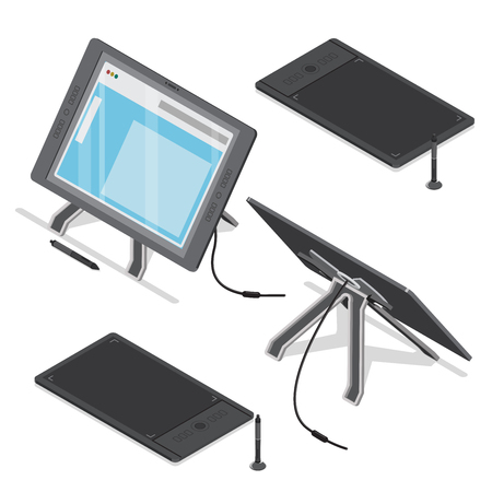 digitizer: Isometric digitizer pen tablet touch screen artist designer digital art tool vector icon set. Flat 3d isometry mockup template concept. Computer peripheral device monitor.