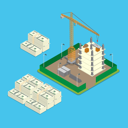 isometry: Isometric construction site land price value investment business infographics template concept. Big money stacks around paled building place crane. Flat 3d isometry web conceptual vector illustration.