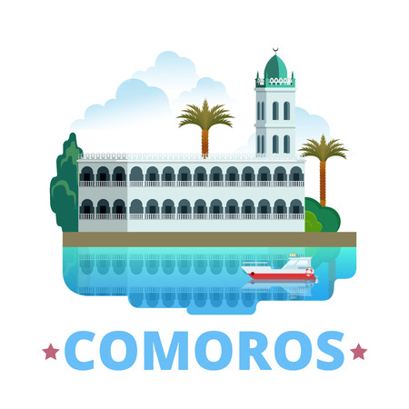 Comoros country fridge magnet design template. Flat cartoon style historic sight showplace web site vector illustration. World vacation travel sightseeing Africa African collection. Moroni Mosque. 일러스트