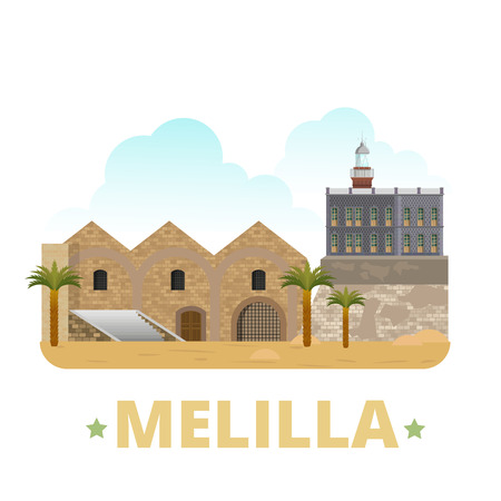 northern african: Melilla country magnet design template. Flat cartoon style historic showplace web site vector illustration. World vacation travel sightseeing Africa African collection. Almacenes de Las Penuelas Faro. Illustration