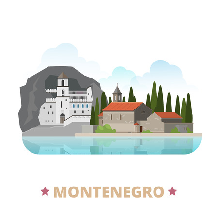 sightseeings: Montenegro country design template. Flat cartoon style historic sight showplace web site vector illustration. World vacation travel Europe European collection. Ostrog Monastery Island of Saint George. Illustration