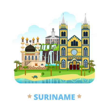 Suriname country flat cartoon style historic sight showplace web site vector illustration. World vacation travel South America collection. Mosque Kiezerstraat Statue Pengel St Peter and Paul Basilica.