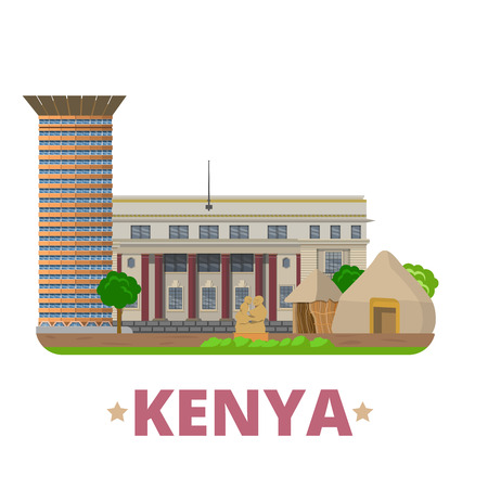 convention: Kenya country flat cartoon style historic sight vector illustration. World vacation travel Africa collection. Kenyatta International Convention Centre National Archives Bomas Nairobi National Museum.