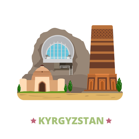 asia style: Kyrgyzstan country design template. Flat cartoon style historic place web site vector illustration. World vacation travel sightseeing Asia Asian collection. Sulayman Mountain Tash Rabat Burana Tower. Illustration