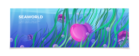 plant life: Sea world underwater life nature natural beauty template. Time to travel vacation agency web site flyer brochure vector illustration. Jellyfish under water green plant bubble color background.