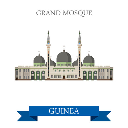 sightseeings: Grand Mosque of Conakry in Guinea. Flat cartoon style historic sight showplace attraction web site vector illustration. World countries cities vacation travel sightseeing Africa collection.