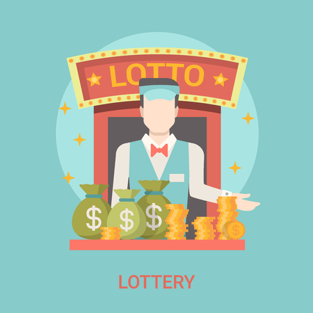 fortune concept: Lucky life concept vector illustration. Flat style lottery success web site banner image. Fortune money bag rich. Lotto croupier man coins dollars lotto on blue background.