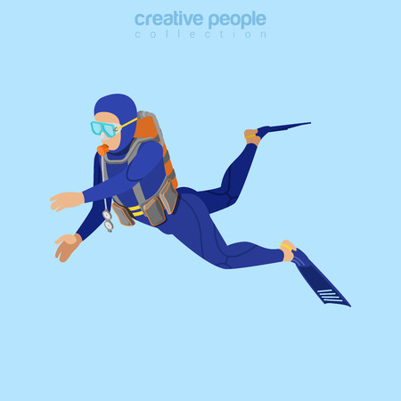 tanks: Isometric diver in aqualung. Flat 3d isometry style. Creative people collection. Illustration