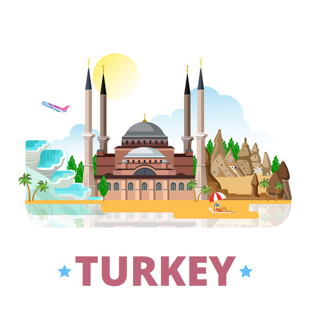 turkey istanbul: Turkey country design template. Flat cartoon style historic sight showplace web site vector illustration. World travel sightseeing Asia Asian collection. Pamukkale Cappadocia Hagia Sophia in Istanbul.
