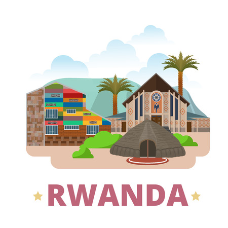 shrine: Rwanda country design template. Flat cartoon style historic sight web vector illustration. World vacation travel Africa African collection. Inema Art Center National Museums Our Lady Kibeho Shrine. Illustration