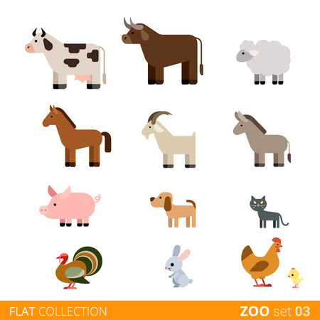 zoo cartoon: Cool flat design trendy style vector animals icon set. Flat zoo children wild farm domestic animal cartoon collection. Cow bull sheep horse goat pig dog cat pets turkey rabbit hare hen chicken.