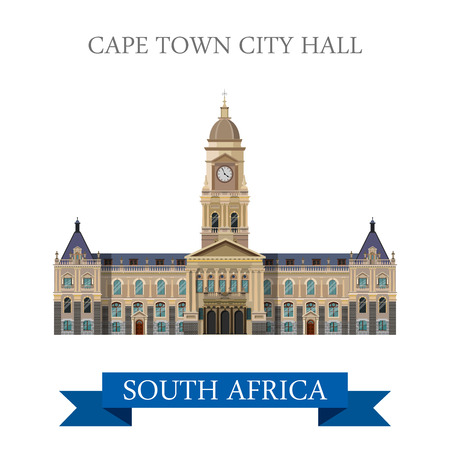 points of interest: Cape Town City Hall in South Africa. Flat cartoon style historic sight showplace attraction web site vector illustration. World countries cities vacation travel sightseeing Africa collection.