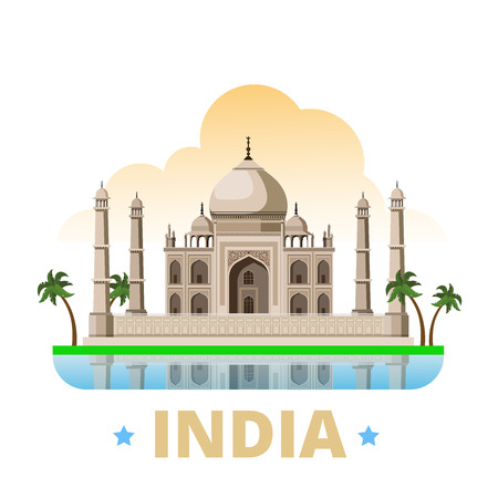 asia style: India country magnet design template. Flat cartoon style historic sight showplace web site vector illustration. World vacation travel sightseeing Asia Asian collection. Taj Mahal mausoleum in Agra.