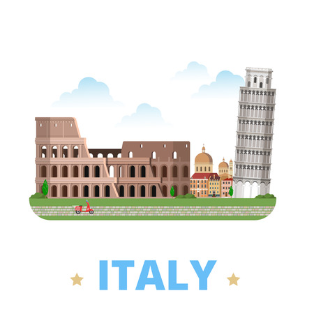 Italy country design template. Flat cartoon style historic sight showplace web vector illustration. World vacation travel Europe European collection. Leaning Tower of Pisa Venice Colosseum in Rome. 矢量图像