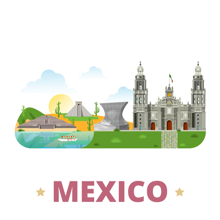 the country: Mexico country badge fridge magnet design template. Flat cartoon style historic sight showplace web site vector illustration. World vacation travel sightseeing North America collection. Chichen Itza Maya Pyramid in Yucatan Sun Aztec City Metropolitan Cathedral. Illustration