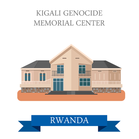Kigali Genocide Memorial Centre in Rwanda. Flat cartoon style historic sight showplace attraction web site vector illustration. World countries cities vacation travel sightseeing Africa collection. Ilustração