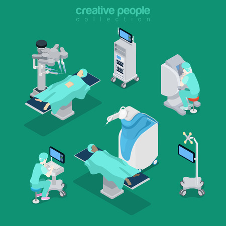Isometric robotic robot-assisted surgery medical hospital modern equipment doctor operator. Innovative medicine concept. Flat 3d isometry style web site vector illustration. Creative people collection