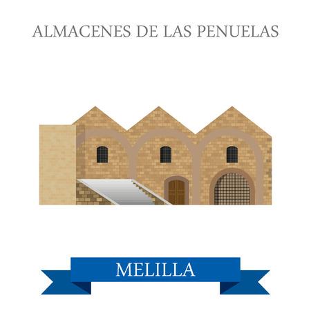 en: Almacenes de Las Penuelas en Melilla. Flat cartoon style historic sight showplace attraction web site vector illustration. World countries cities vacation travel sightseeing Africa collection.