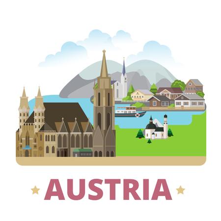 Austria country badge fridge magnet design template. Flat cartoon style web site vector illustration. World vacation travel sightseeing Europe European collection. Stephansdom Hallstatt Lake Seefeld.
