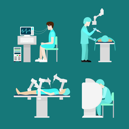 hospital patient: Modern treatment robotic robot-assisted surgery echoencephalography brain waveform. Flat style hospital profession specialist concept vector people icon set hospital patient doc nurse.