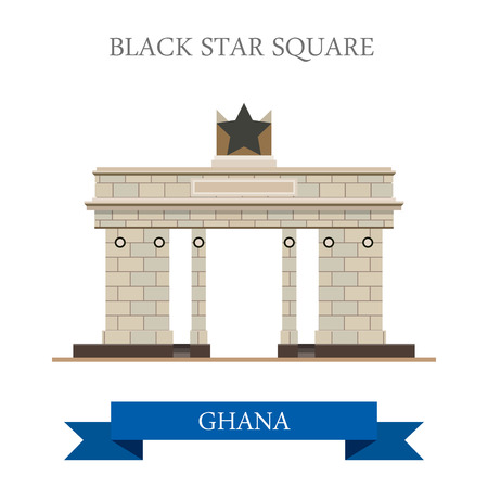 black history: Black Star Square in Accra Ghana. Flat cartoon style historic sight showplace attraction web site vector illustration. World countries cities vacation travel sightseeing Africa collection. Illustration