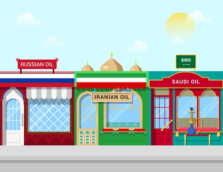 world market: Start of Iran Iranian oil on world market. Oil shops cartoon concept vector illustration. Abstract flag Russian Saudi store front showcase