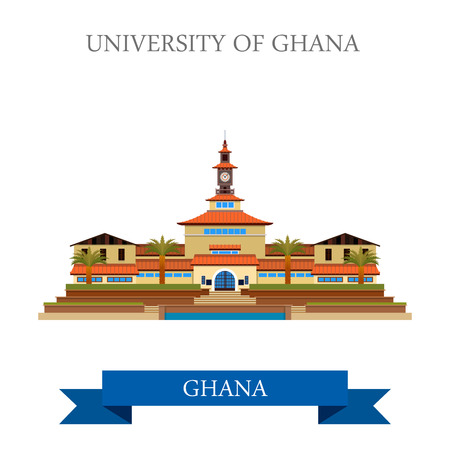 points of interest: University of Ghana in Accra. Flat cartoon style historic sight showplace attraction web site vector illustration. World countries cities vacation travel sightseeing Africa collection.