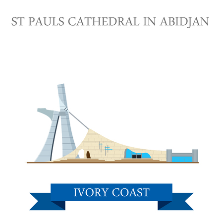 country church: St Pauls Cathedral in Abidjan Ivory Coast. Flat cartoon style historic sight showplace attraction web site vector illustration. World countries cities vacation travel sightseeing Africa collection.