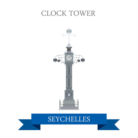Clock Tower in Victoria in Seychelles. Flat cartoon style historic sight showplace attraction web site vector illustration. World countries cities vacation travel sightseeing Africa Island collection.  イラスト・ベクター素材