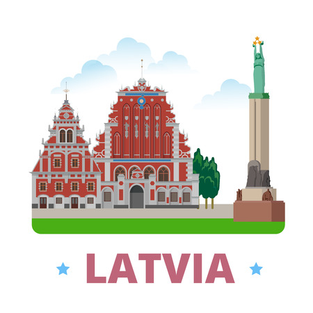 country house style: Latvia country magnet design template. Flat cartoon style historic sight showplace web vector illustration. World vacation travel Europe European collection. House of the Blackheads Freedom Monument.