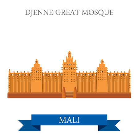 Djenne Great Mosque in Farmantala in Mali. Flat cartoon style historic sight showplace attraction web site vector illustration. World countries cities vacation travel sightseeing Africa collection.