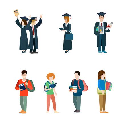 La vida del estudiante establece icono creativo del vector. Jóvenes estudiantes universitarios se gradúan hombre en el manto con la mujer estudio diploma certificado en la ilustración de libros ocasional mochila sobre fondo blanco.