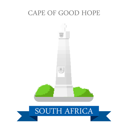 sightseeings: Cape of Good Hope in Cape Town in South Africa. Flat cartoon style historic sight showplace attraction web site vector illustration. World countries vacation travel sightseeing Africa collection. Illustration
