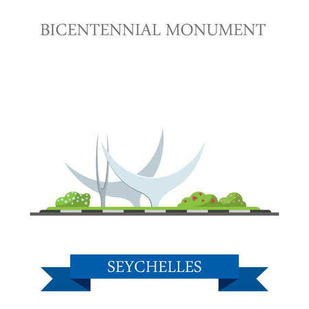 points of interest: Bicentennial Monument in Seychelles. Flat cartoon style historic sight showplace attraction web site vector illustration. World countries cities vacation travel sightseeing African Island collection.