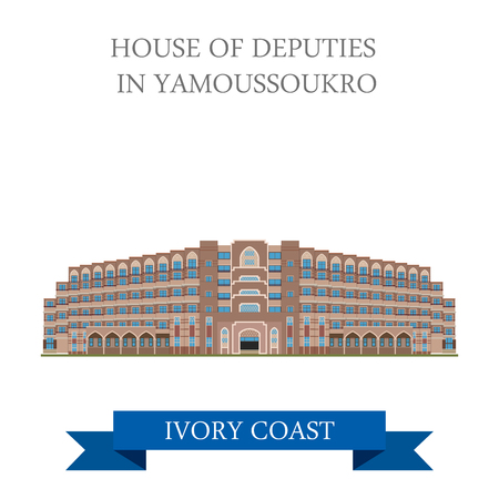 points of interest: House of Deputies in Yamoussoukro Ivory Coast. Flat cartoon style historic sight showplace attraction web site vector illustration. World countries cities vacation travel sightseeing Africa collection