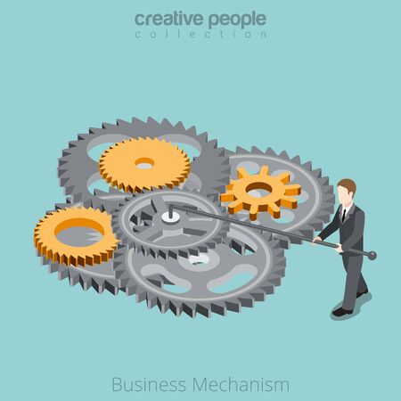 turns: Isometric Business Mechanism gear wheel concept. Flat 3d isometry style web site vector illustration. Creative people collection. Man twist turns gearwheels.