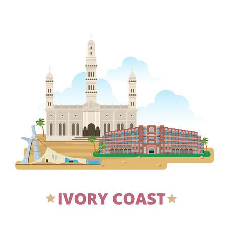 コートジボワール国デザイン テンプレートです。フラット漫画スタイル歴史的名所観光 web サイト ベクトル イラスト。世界の休暇旅行アフリカ ア
