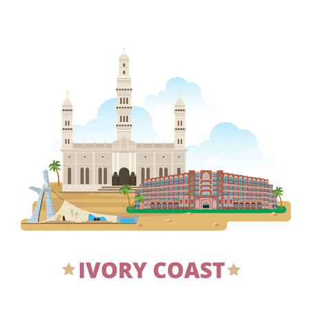 Ivory Coast country design template. Flat cartoon style historic sight web site vector illustration. World vacation travel Africa African collection. Grande Mosque House Deputies St Paul's Cathedral.