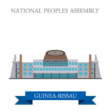 points of interest: National Peoples Assembly in Guinea-Bissau. Flat cartoon style historic sight showplace attraction web site vector illustration. World countries cities vacation travel sightseeing Africa collection.