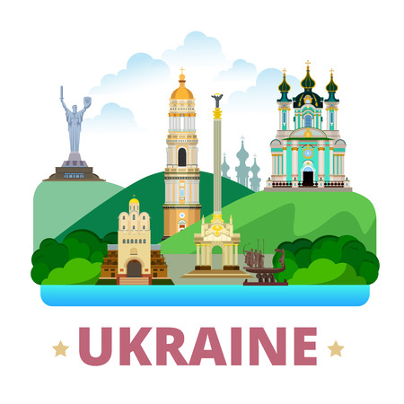 Ukraine country design template. Flat cartoon style historic sight showplace web site vector illustration. World travel Europe collection. Kyiv Pechersk Lavra Monastery St Andrews Church Golden Gates
