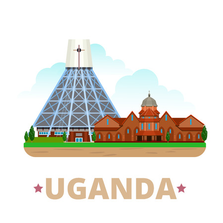points of interest: Uganda country design template. Flat cartoon style historic sight showplace web site vector illustration. World travel Africa African collection. Basilica of the Uganda Martyrs Namirembe Cathedral.