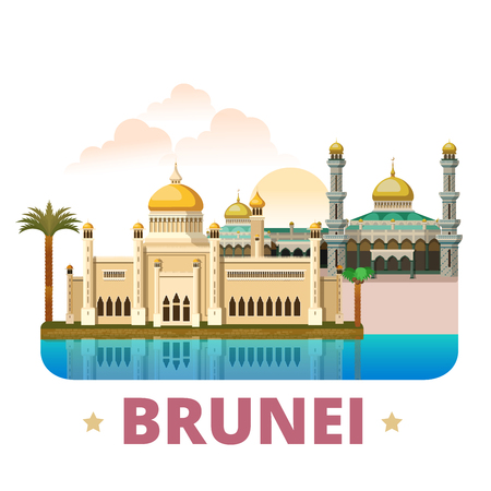 points of interest: Brunei country design template. Flat cartoon style historic sight web vector illustration. World travel sightseeing Asia Asian collection. Sultan Omar Ali Saifuddin Mosque Jame Asr Hassanil Bolkiah