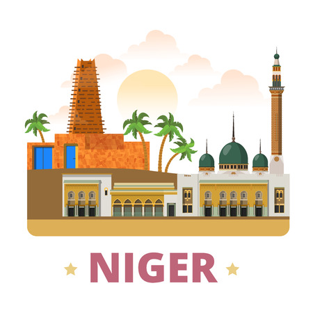 Niger country fridge magnet design template. Flat cartoon style historic sight showplace web site vector illustration. World vacation travel sightseeing Africa African collection. Agadez Niamey Mosque 일러스트